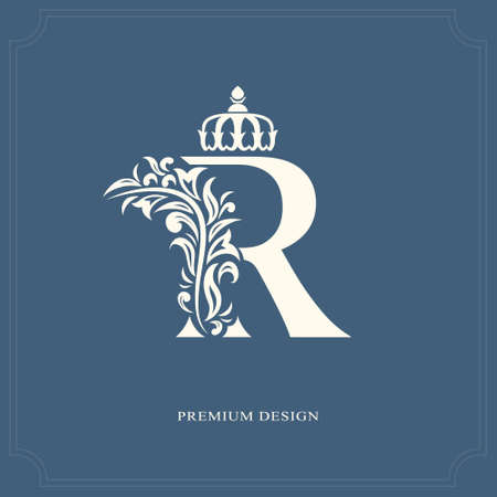 Letra elegante R con una corona. Gracioso estilo real. Logotipo hermoso caligráfico. Emblema dibujado vintage para el diseño del libro, marca de fábrica, tarjeta de visita, restaurante, boutique, hotel. Ilustración del vector