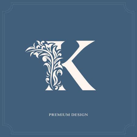 kingly: Elegant letter K. Graceful royal style. Calligraphic beautiful logo. Vintage drawn emblem for book design, brand name, business card, Restaurant, Boutique, Hotel. Vector illustration Illustration