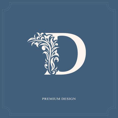 Elegant letter D. Graceful royal style. Calligraphic beautiful logo. Vintage drawn emblem for book design, brand name, business card, Restaurant, Boutique, Hotel. Vector illustration