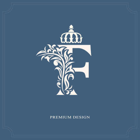 uppercase: Elegant letter F with a crown. Graceful royal style. Calligraphic beautiful logo. Vintage drawn emblem for book design, brand name, business card, Restaurant, Boutique, Hotel. Vector illustration