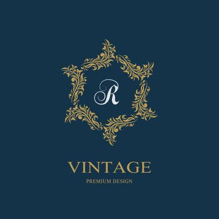 Floral Monogram luxury design, graceful template. Calligraphic elegant beautiful logo. Letter emblem sign R for Royalty, Restaurant, Boutique, Hotel, Heraldic, Jewelry. Vector illustration Vectores