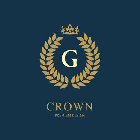 Wreath Monogram luxury design, graceful template. Floral elegant beautiful round logo with crown. Letter emblem sign G for Royalty, Restaurant, Boutique, Hotel, Heraldic, Jewelry. Vector illustration