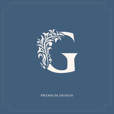 Elegant letter G. Graceful royal style. Calligraphic beautiful logo. Vintage drawn emblem for book design, brand name, business card, Restaurant, Boutique, Hotel. Vector illustration