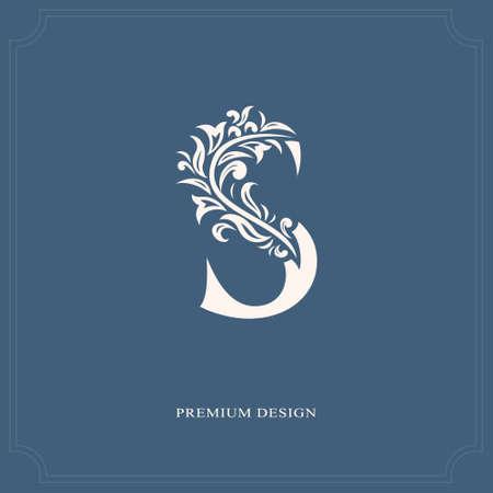 エレガントな手紙 s. みやびやかロイヤル スタイル。カリグラフィの美しいロゴ。ブック デザイン、ブランド、ビジネス カード、レストラン、ブティック、ホテルのヴィンテージの描かれたエンブレム。ベクトル図