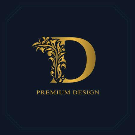 Złota Elegancka litera D. Wdzięku stylu. Kaligraficzne piękne logo. Vintage ciągnione godło projekt książki, nazwa marki, wizytówki, restauracja, butik, hotel. Ilustracji wektorowych Logo