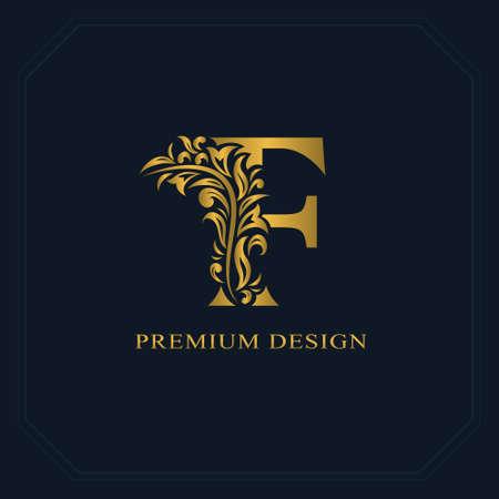 Gold Elegant letter F. Graceful style. Calligraphic beautiful logo. Vintage drawn emblem for book design, brand name, business card, Restaurant, Boutique, Hotel. Vector illustration Stock Illustratie