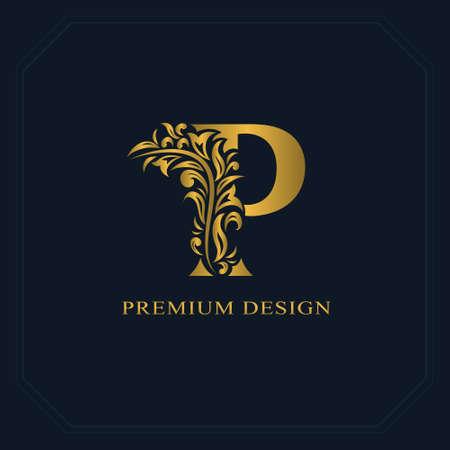 Gouden elegante letter P. Sierlijke stijl. Kalligrafisch mooi logo. Vintage getekend embleem voor boekontwerp, merknaam, visitekaartje, restaurant, boetiek, hotel. Vector illustratie