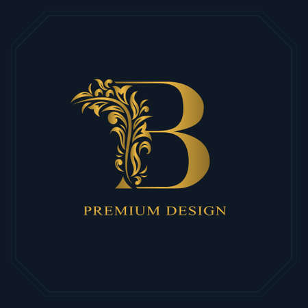Gold Elegant letter B. Graceful style. Calligraphic beautiful logo. Vintage drawn emblem for book design, brand name, business card, Restaurant, Boutique, Hotel. Vector illustration