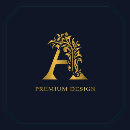 Oro Elegante lettera A. Grazioso stile. Bel logo calligrafico. Emblema disegnato vintage per design del libro, marchio, biglietto da visita, ristorante, boutique, hotel. Illustrazione vettoriale