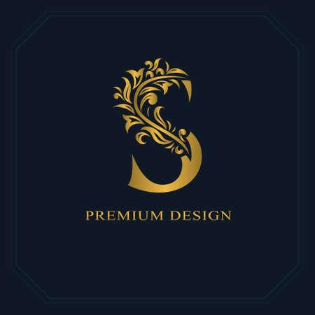 Gouden elegante letter S. Sierlijke stijl. Kalligrafisch mooi logo. Vintage getekend embleem voor boekontwerp, merknaam, visitekaartje, restaurant, boetiek, hotel. Vector illustratie