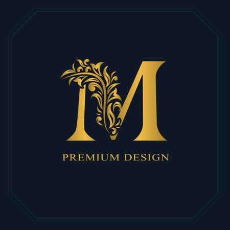 Gouden elegante letter M. Sierlijke stijl. Kalligrafisch mooi logo. Vintage getekend embleem voor boekontwerp, merknaam, visitekaartje, restaurant, boetiek, hotel. Vector illustratie Logo