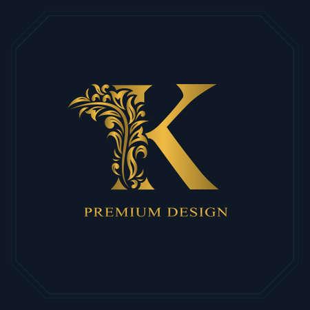 Gold Elegant letter K. Graceful style. Calligraphic beautiful logo. Vintage drawn emblem for book design, brand name, business card, Restaurant, Boutique, Hotel. Vector illustration