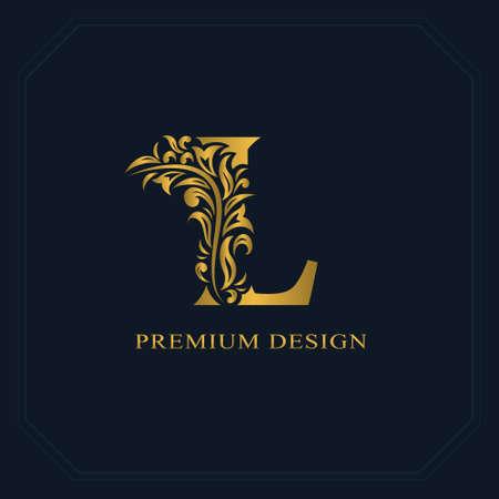 Złoty elegancki list L. wdzięku stylu. Kaligraficzne piękne logo. Vintage ciągnione godło projekt książki, nazwa marki, wizytówki, restauracja, butik, hotel. Ilustracji wektorowych Logo