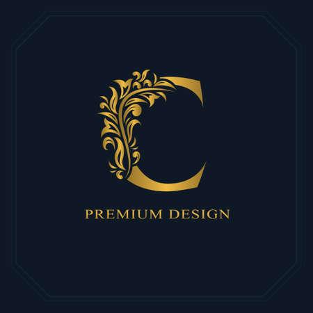 Gold Elegant letter C. Graceful style. Calligraphic beautiful logo. Vintage drawn emblem for book design, brand name, business card, Restaurant, Boutique, Hotel. Vector illustration Vettoriali