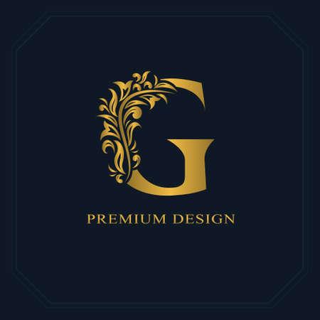 Ouro Carta elegante G. Estilo gracioso. Logotipo caligráfico bonito. Emblema desenhado em estilo vintage para design de livros, marca, cartão de visita, restaurante, boutique, hotel. Ilustração do vetor