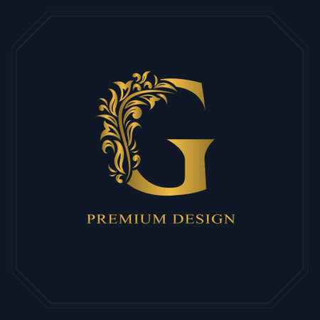 Gold Elegant letter G. Graceful style. Calligraphic beautiful logo. Vintage drawn emblem for book design, brand name, business card, Restaurant, Boutique, Hotel. Vector illustration