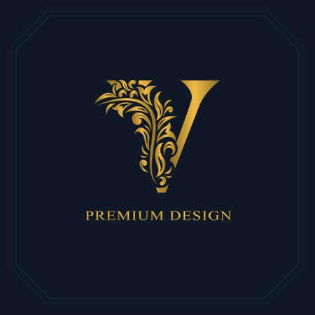 Gouden elegante letter V. Sierlijke stijl. Kalligrafisch mooi logo. Vintage getekend embleem voor boekontwerp, merknaam, visitekaartje, restaurant, boetiek, hotel. Vector illustratie Stock Illustratie