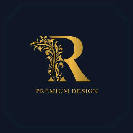 エレガントな金文字 R. みやびやかスタイル。カリグラフィの美しいロゴ。ブック デザイン、ブランド、ビジネス カード、レストラン、ブティック