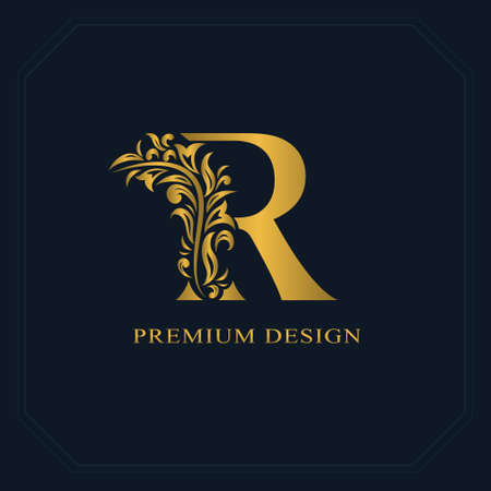 Gold Elegant letter R. Graceful style. Calligraphic beautiful logo. Vintage drawn emblem for book design, brand name, business card, Restaurant, Boutique, Hotel. Vector illustration