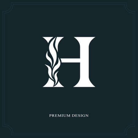 Elegant letter H. Graceful royal style. Calligraphic beautiful logo. Vintage drawn emblem for book design, brand name, business card, Restaurant, Boutique, Hotel. Vector illustration