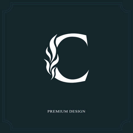 Elegant letter C. Graceful royal style. Calligraphic beautiful logo. Vintage drawn emblem for book design, brand name, business card, Restaurant, Boutique, Hotel. Vector illustration