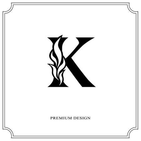 Elegant letter K. Graceful royal style. Calligraphic beautiful logo. Vintage drawn emblem for book design, brand name, business card, Restaurant, Boutique, Hotel. Vector illustration Çizim