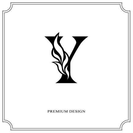 Elegant letter Y. Graceful royal style. Calligraphic beautiful logo. Vintage drawn emblem for book design, brand name, business card, Restaurant, Boutique, Hotel. Vector illustration