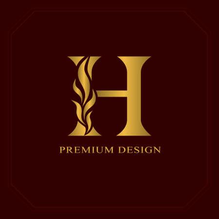 Lettre élégante d'or H. Style gracieux. Beau logo calligraphique. Emblème dessiné Vintage pour la conception de livre, nom de marque, carte de visite, Restaurant, Boutique, Hôtel. Illustration vectorielle
