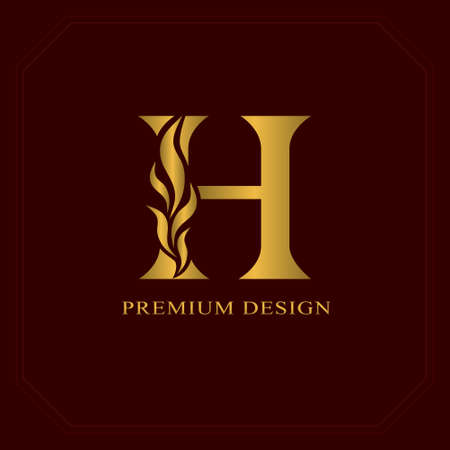 Gold Elegant letter H. Graceful style. Calligraphic beautiful logo. Vintage drawn emblem for book design, brand name, business card, Restaurant, Boutique, Hotel. Vector illustration