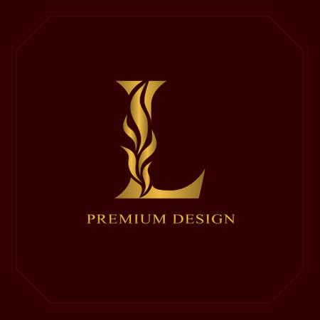 Gold Elegant letter L. Graceful style. Calligraphic beautiful logo. Vintage drawn emblem for book design, brand name, business card, Restaurant, Boutique, Hotel. Vector illustration Logó