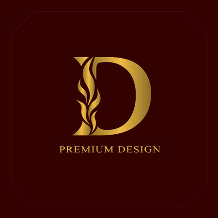 Gold Elegant letter D. Graceful style. Calligraphic beautiful logo. Vintage drawn emblem for book design, brand name, business card, Restaurant, Boutique, Hotel. Vector illustration Çizim