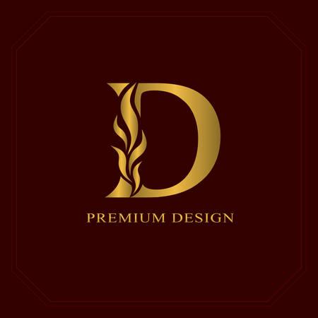 Gold Elegant letter D. Graceful style. Calligraphic beautiful logo. Vintage drawn emblem for book design, brand name, business card, Restaurant, Boutique, Hotel. Vector illustration Vectores