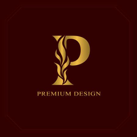 Gold Eleganter Buchstabe P. Anmutiger Stil. Kalligraphisches schönes Logo. Weinlese gezeichnetes Emblem für Buchdesign, Markenname, Visitenkarte, Restaurant, Butike, Hotel. Vektor-Illustration Standard-Bild - 84511363