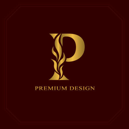 Oro Elegante letra P. Estilo elegante. Logotipo hermoso caligráfico. Vintage emblema dibujado para el diseño del libro, marca, tarjeta de visita, restaurante, Boutique, Hotel. Ilustración vectorial