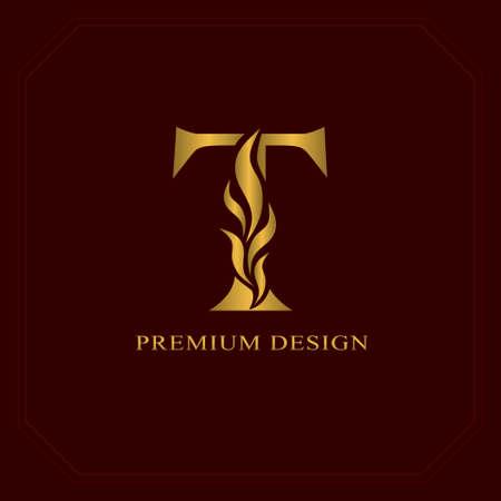 Gold Elegant letter T. Graceful style. Calligraphic beautiful logo. Vintage drawn emblem for book design, brand name, business card, Restaurant, Boutique, Hotel. Vector illustration Logó