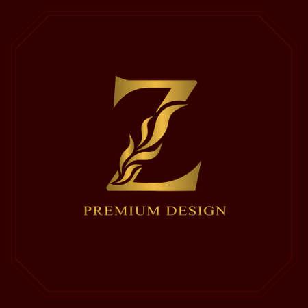 Gold Elegant letter Z. Graceful style. Calligraphic beautiful logo. Vintage drawn emblem for book design, brand name, business card, Restaurant, Boutique, Hotel. Vector illustration Illustration
