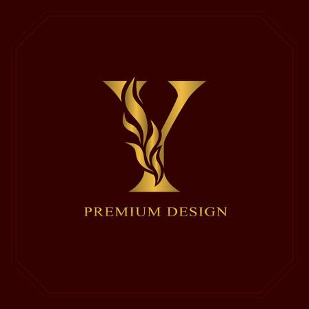 Gold Elegant letter Y. Graceful style. Calligraphic beautiful logo. Vintage drawn emblem for book design, brand name, business card, Restaurant, Boutique, Hotel. Vector illustration