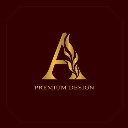 Gold Elegant letter A. Graceful style. Calligraphic beautiful logo. Vintage drawn emblem for book design, brand name, business card, Restaurant, Boutique, Hotel. Vector illustration