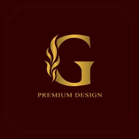 エレガントな金文字 G. みやびやかスタイル。カリグラフィの美しいロゴ。ブック デザイン、ブランド、ビジネス カード、レストラン、ブティック