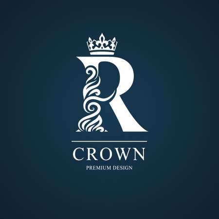 Elegant letter R. Graceful royal style. Calligraphic beautiful logo. Vintage drawn emblem for book design, brand name, business card, Restaurant, Boutique, Hotel. Vector illustration
