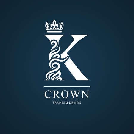 Elegant letter K. Graceful royal style. Calligraphic beautiful logo. Vintage drawn emblem for book design, brand name, business card, Restaurant, Boutique, Hotel. Vector illustration Illustration