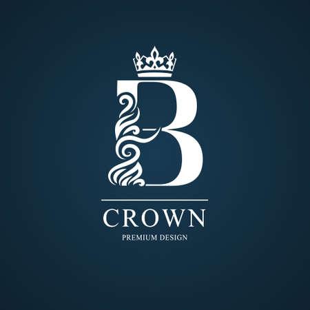 エレガントな文字B.優雅な王室スタイル。書水路美しいロゴ。本のデザイン、ブランド名、名刺、レストラン、ブティック、ホテルのためのヴィンテ