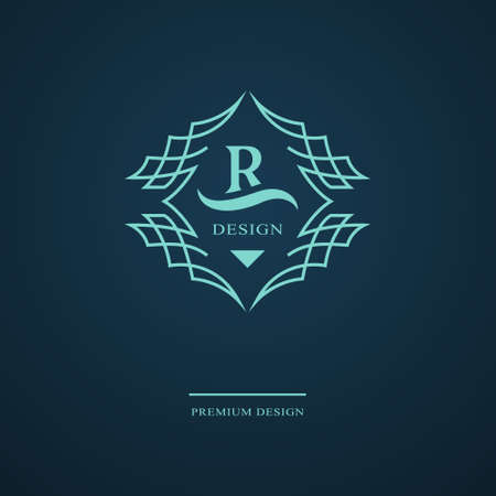 Line graphics monogram. Elegant art logo design. Letter R. Graceful template. Business sign, identity for Restaurant, Royalty, Boutique, Cafe, Hotel, Heraldic, Jewelry, Fashion. Vector elements