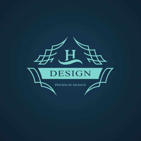 Line graphics monogram. Elegant art logo design. Letter H. Graceful template. Business sign, identity for Restaurant, Royalty, Boutique, Cafe, Hotel, Heraldic, Jewelry, Fashion. Vector elements