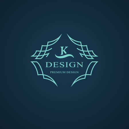 Line graphics monogram. Elegant art logo design. Letter K. Graceful template. Business sign, identity for Restaurant, Royalty, Boutique, Cafe, Hotel, Heraldic, Jewelry, Fashion. Vector elements