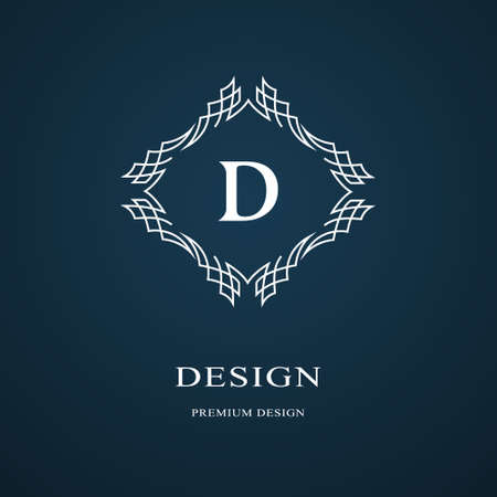 Line graphics monogram. Elegant art logo design. Letter D graceful template business sign, identity for restaurant, royalty, boutique, cafe, hotel, heraldic, jewelry, fashion.  イラスト・ベクター素材