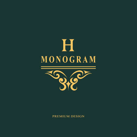 Beautiful monogram. Elegant emblem. Art icon design. Letter H. Graceful template. Business sign. Identity for restaurant, royalty, boutique, cafe, hotel, heraldic, jewelry. Fashion vector illustration. Vettoriali
