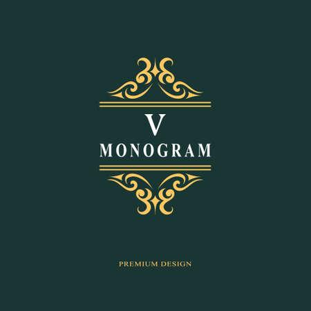 Beautiful monogram. Elegant emblem. Art icon design. Letter V. Graceful template. Business sign. Identity for restaurant, royalty, boutique, cafe, hotel, heraldic, jewelry. Fashion vector illustration.