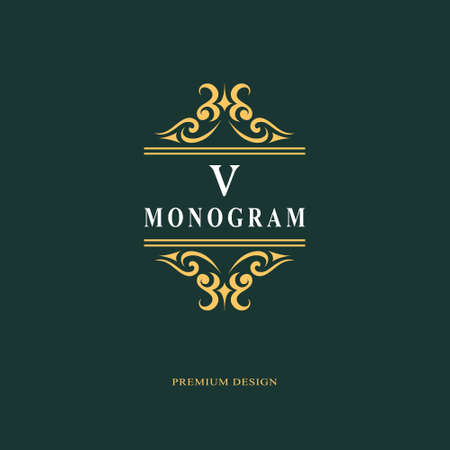 Beautiful monogram. Elegant emblem. Art icon design. Letter V. Graceful template. Business sign. Identity for restaurant, royalty, boutique, cafe, hotel, heraldic, jewelry. Fashion vector illustration.