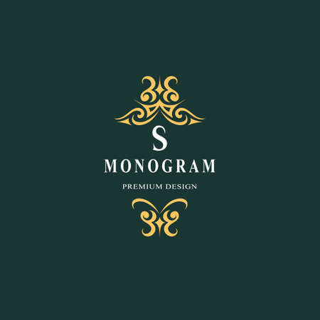 Beautiful monogram. Elegant emblem. Art icon design. Letter S. Graceful template. Business sign. Identity for restaurant, royalty, boutique, cafe, hotel, heraldic, jewelry. Fashion vector illustration. Vettoriali